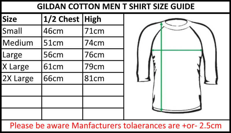 TBTS Gildan Cotton Men Raglan T Shirt Size Guide