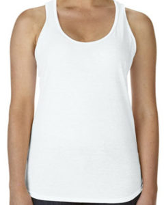 TBTS Anvil Ladies Racerback Singlet White Front
