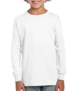 Gildan Cotton Kids Long Sleeve T Shirt White