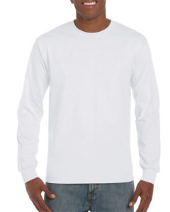 Gildan Cotton Men Long Sleeve T Shirt White