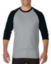 Gildan Cotton Men Raglan T Shirt SG.Black