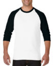 Gildan Cotton Men Raglan T Shirt White.Black