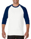 Gildan Cotton Men Raglan T Shirt White.Navy