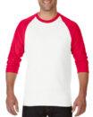 Gildan Cotton Men Raglan T Shirt White.Red
