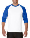 Gildan Cotton Men Raglan T Shirt White.Royal