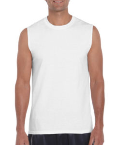 Gildan Cotton Men Muscle T Shirt White