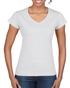 Gildan Soft Style Ladies V Neck White
