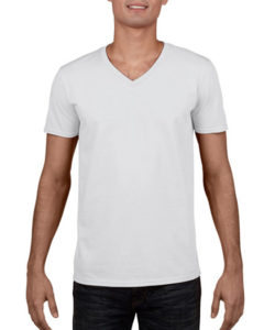 Gildan Soft Style Men V Neck T Shirt White