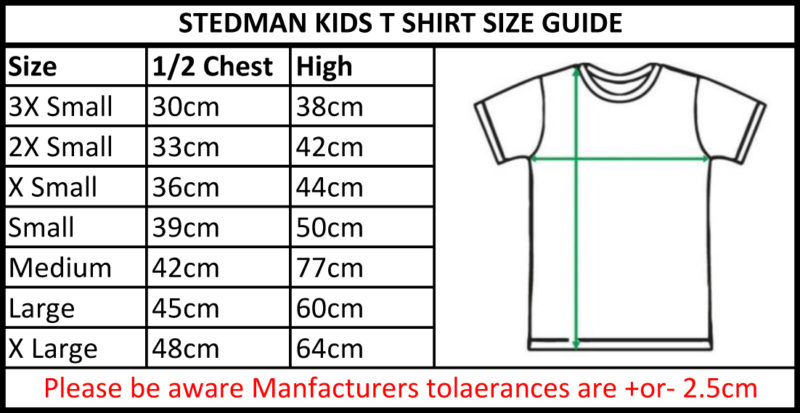 Stedman Light-Weight Kids T-Shirtsize guide