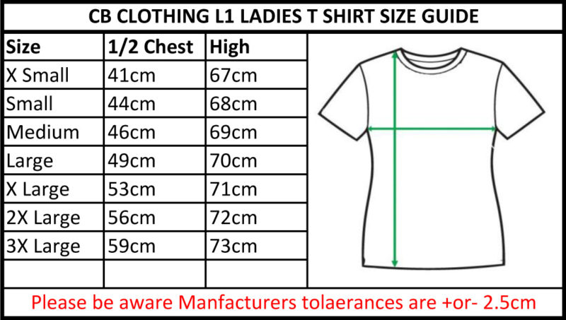 CB Clothing Co Ladies L1 T-Shirt Size Guide