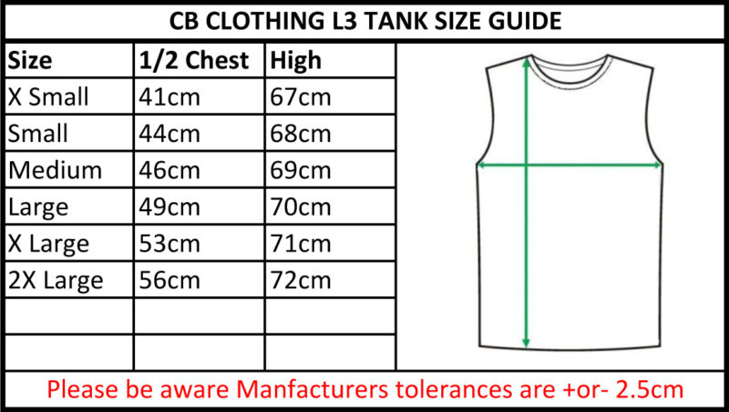 CB Clothing Co Ladies L3 Tank Size Guide