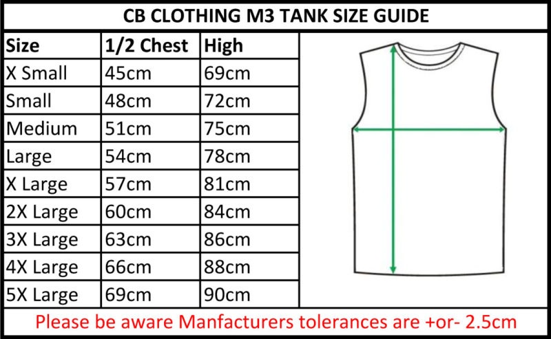 CB Clothing Co Men M3 Tank Top Size Guide