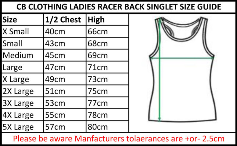 CB Clothing Co Ladies L4 Racerback Singlet Size Guide