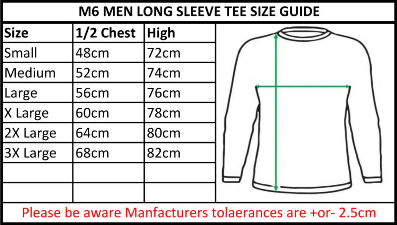 CB Clothing Co Men M6 Long Sleeve T-Shirt Size Chart