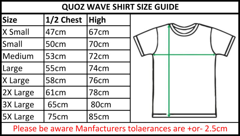 TBTS QUOZ Men Wave Tee Size Guide