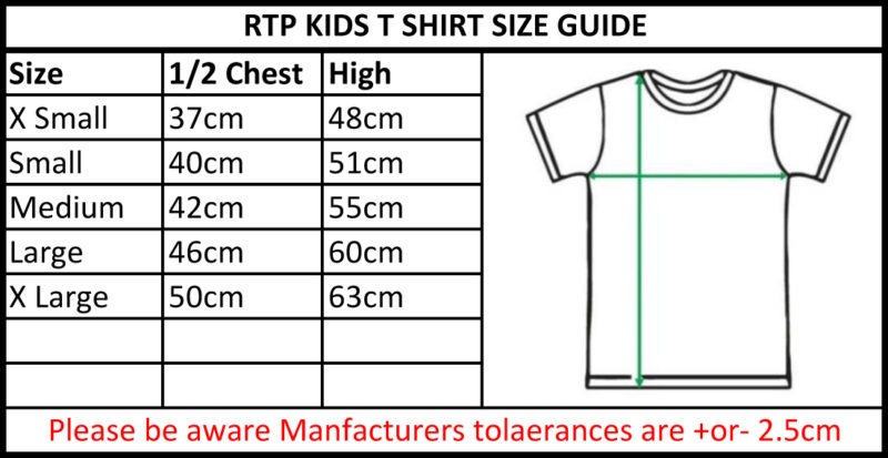 TBTS RTP Apparel Kids Euro Style T-Shirt Size Guide